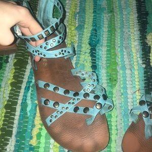 Blue studded sandals